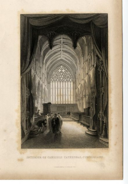 1835 INTERIOR OF CARLISLE CATHEDRAL, CUMBERLAND